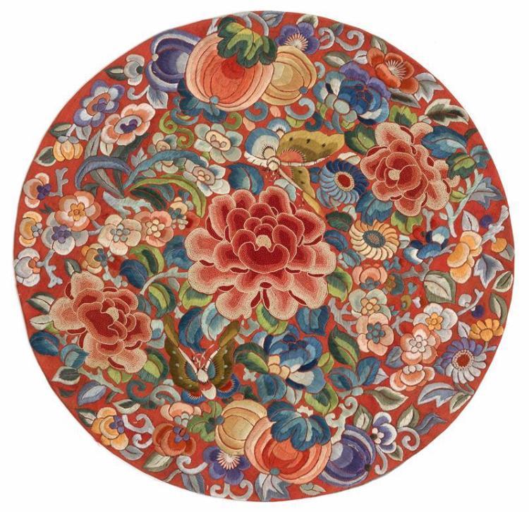 SILK NEEDLEWORK MEDALLION With Forbidden Stitch flowers on a red ground. Diameter 13.75