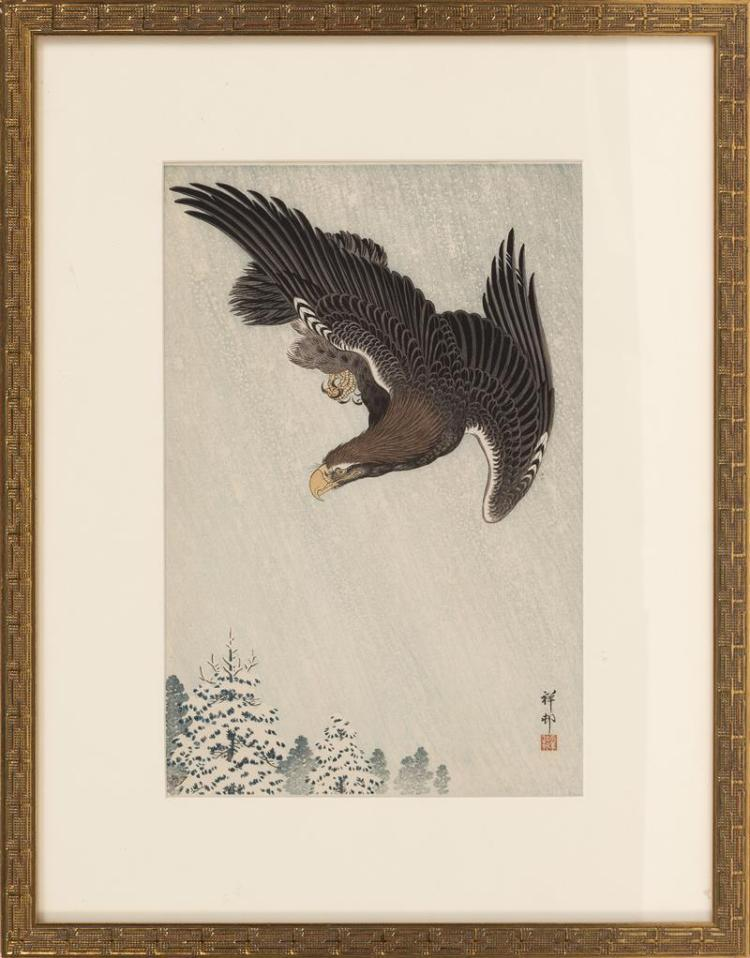 OHARA SHOSON Eagle in a snowstorm. Watanabe Publishing seal lower left. Framed.