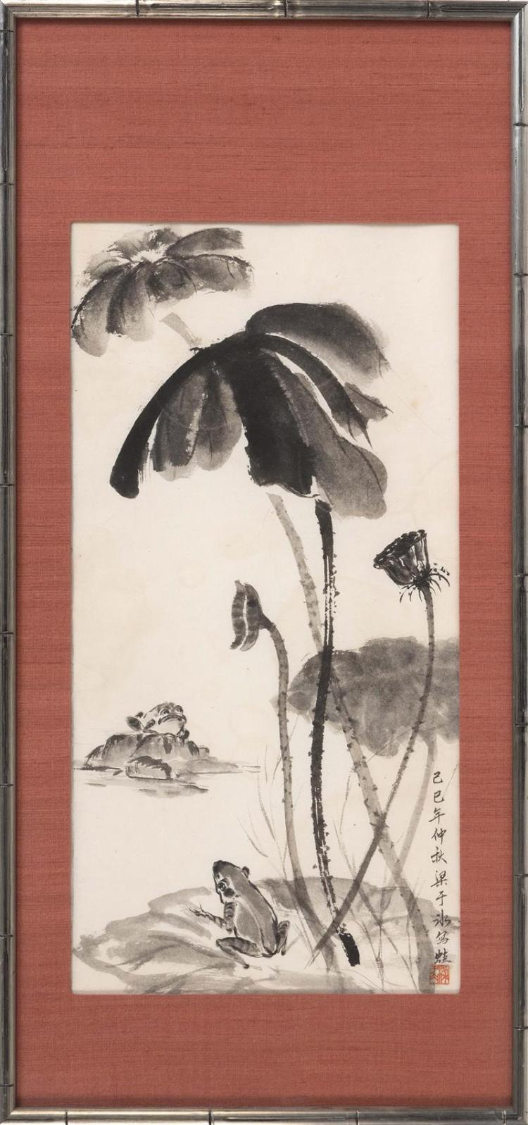 FRAMED PAINTING ON PAPER Depicting two frogs and lotus. Marked with calligraphy and seal marks. 26.5
