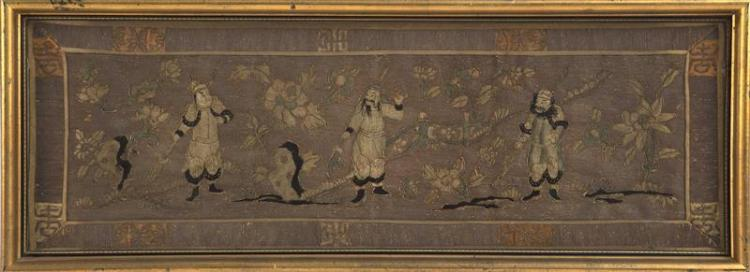 SILK AND METALLIC THREADWORK PANEL Depicting three military figures on a floral ground. 12