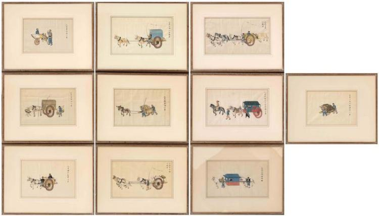 SET OF TEN FRAMED PAINTINGS ON SILK Each depicting scenes of figures and various carts and chariots, some with horses. Each with cal...