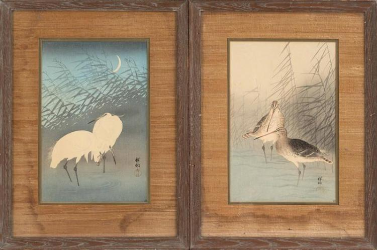 OHARA SHOSON Herons and reeds under a full moon. Snipe and reeds in a stream. Framed.