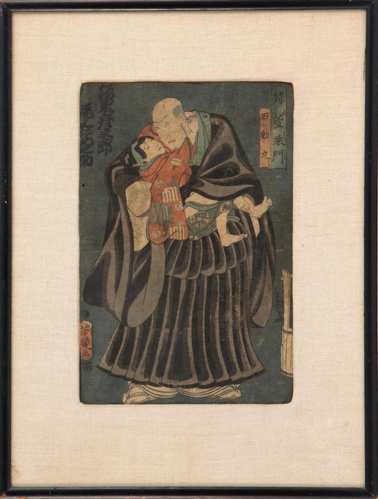 UTAGAWA YOSHIIKU Kabuki print depicting a man in black kimono holding a child. Framed.