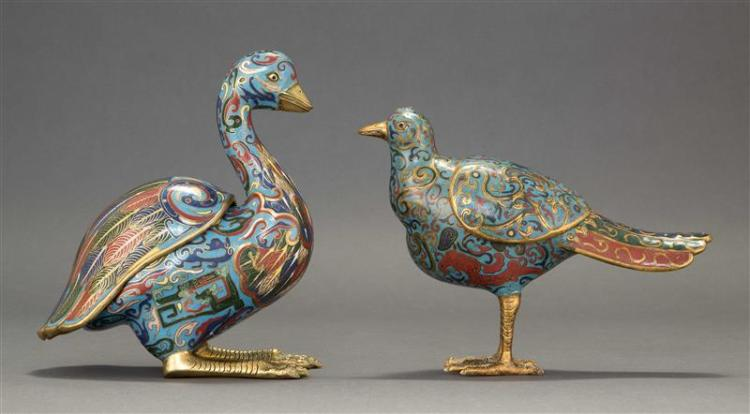 TWO CLOISONNÉ BIRD-FORM COVERED INCENSE BURNERS One in pheasant form with missing plumage, the other in squatting duck form. Heights...