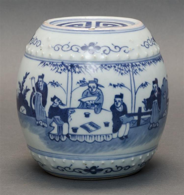 BLUE AND WHITE PORCELAIN MINIATURE BARREL With raised bosses about the top and base. Body decorated with scholars in a landscape. Do...