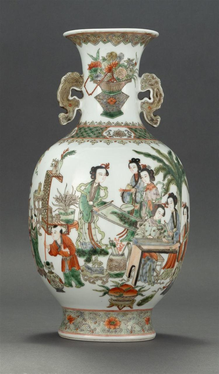 FAMILLE VERTE PORCELAIN VASE In baluster form with slightly flared mouth and ruyi-form handles. Allover finely detailed decoration o...