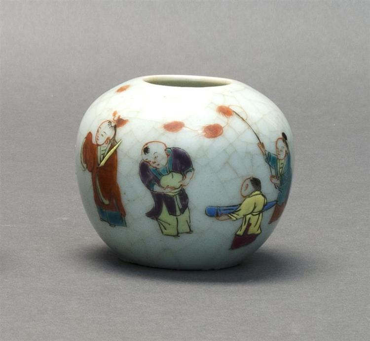 CRACKLEWARE PORCELAIN BRUSH WASHER In ovoid form with polychrome-enameled decoration of five young boys. Height 3
