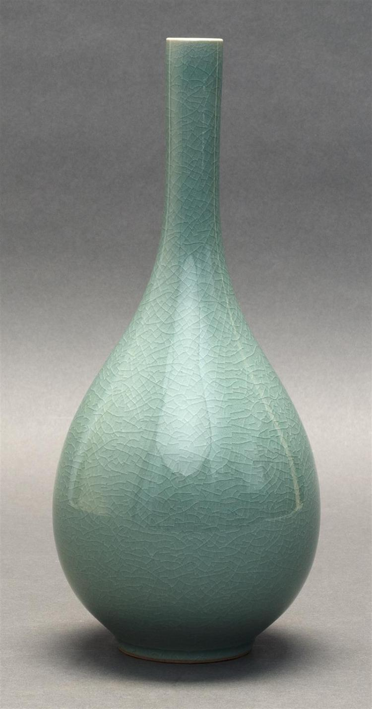 KOREAN CELADON PORCELAIN VASE In teardrop form. With tapered cylindrical neck and allover crackle glaze. Two-character mark on base....