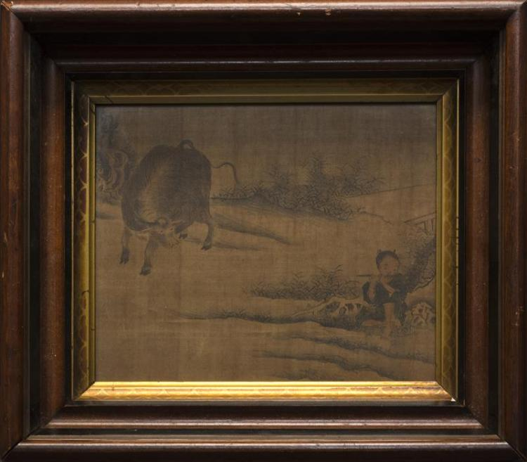PAINTING ON SILK Depicting a herdboy and a water buffalo. Framed 8.25