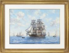 """ROY CROSS, British, b. 1924, """"A Frigate of the Swedish Navy""""., Watercolor and gouache, 21"""" x 29.5"""". Framed 31"""" x 39.5""""."""