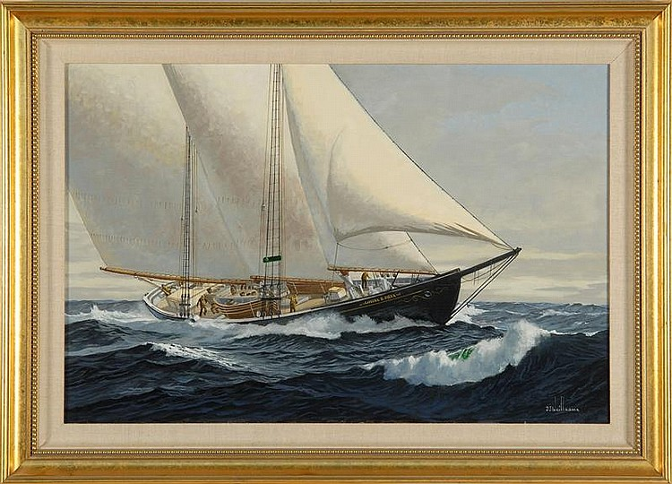 BEN NEILL, American, Contemporary, Two-masted schooner., Oil on canvas, 20