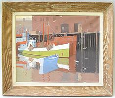 """PETER TYSVER, American, Contemporary, At the dock., Oil on canvas, 16"""" x 20"""". Framed."""