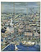 MAXWELL MAYS, American, 1918-2009, Three-panel screen with bird's-eye view of Providence, Rhode Island., Oil on screen panels, each...