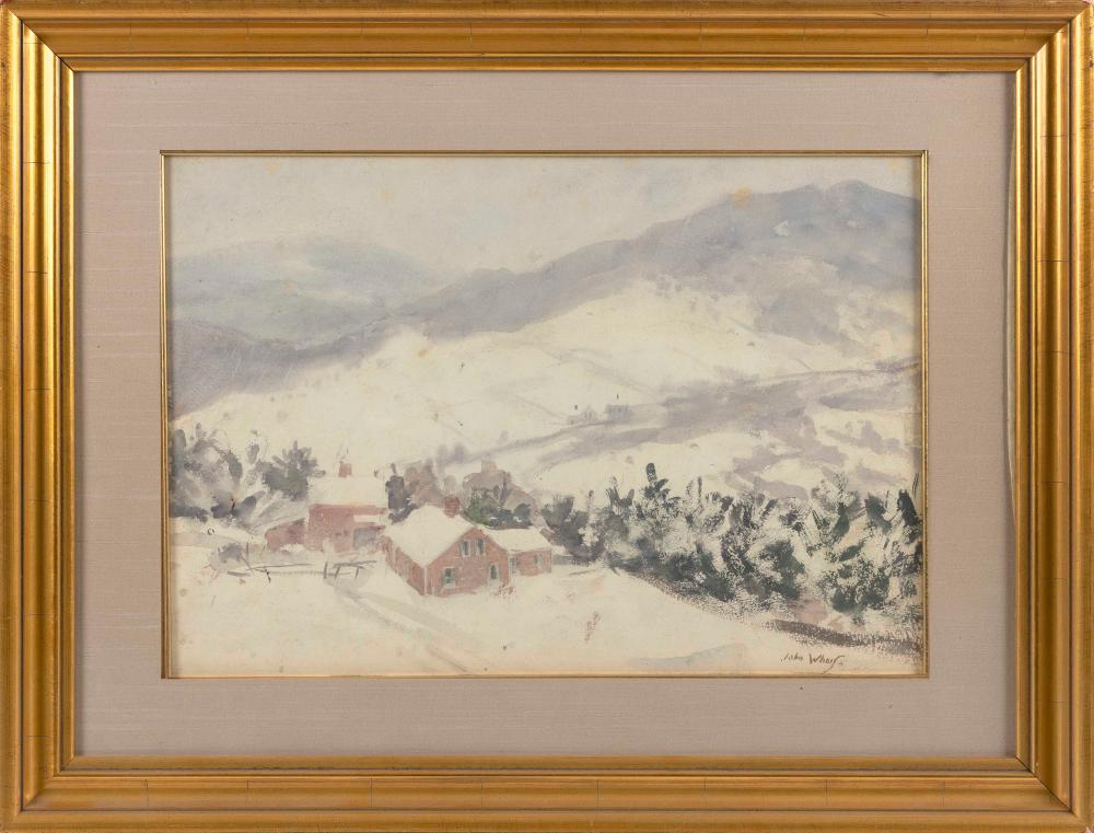 "JOHN WHORF , Massachusetts, 1903-1959, Farm in winter., Watercolor on paper, 14"" x 20"" sight. Framed 22"" x 29""."