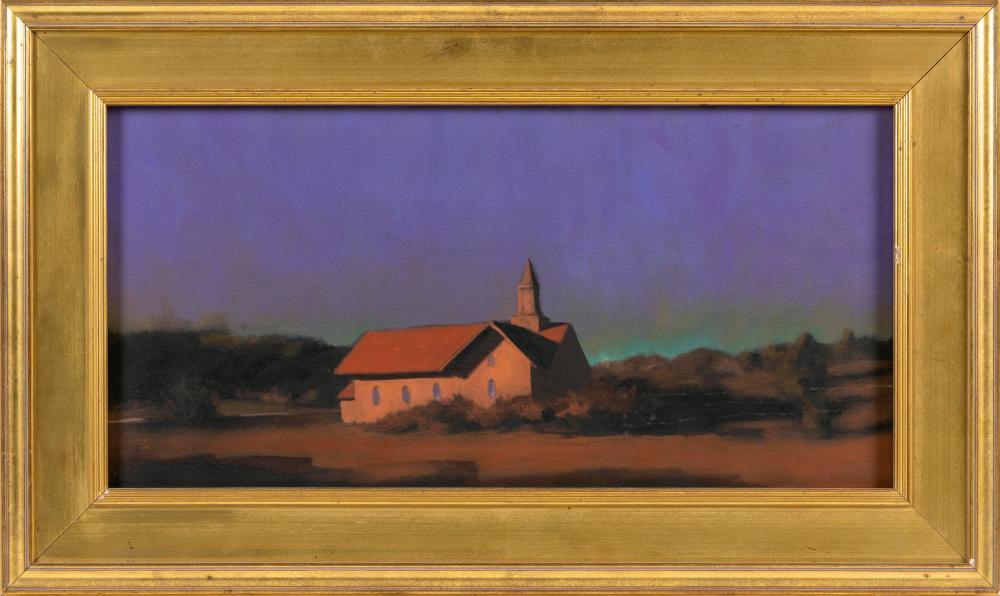 """ROBERT CARDINAL, Massachusetts/New York/Canada, b. 1936, New England dusk., Oil on canvas, 12"""" x 24"""". Framed 18"""" x 30""""."""