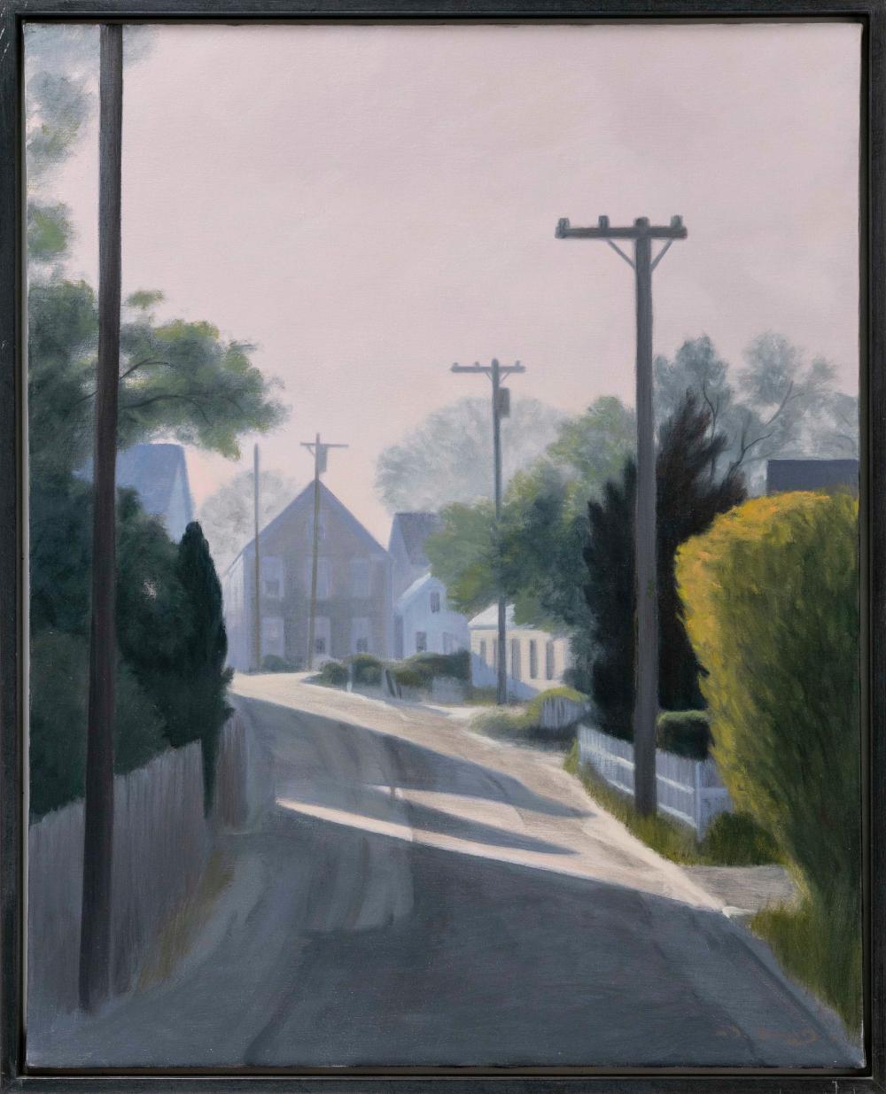 "JOHN DOWD, Massachusetts, b. 1960, Shadows on Commerical Street, Provincetown., Oil on canvas, 30"" x 24"". Framed 31.5"" x 25.5""."