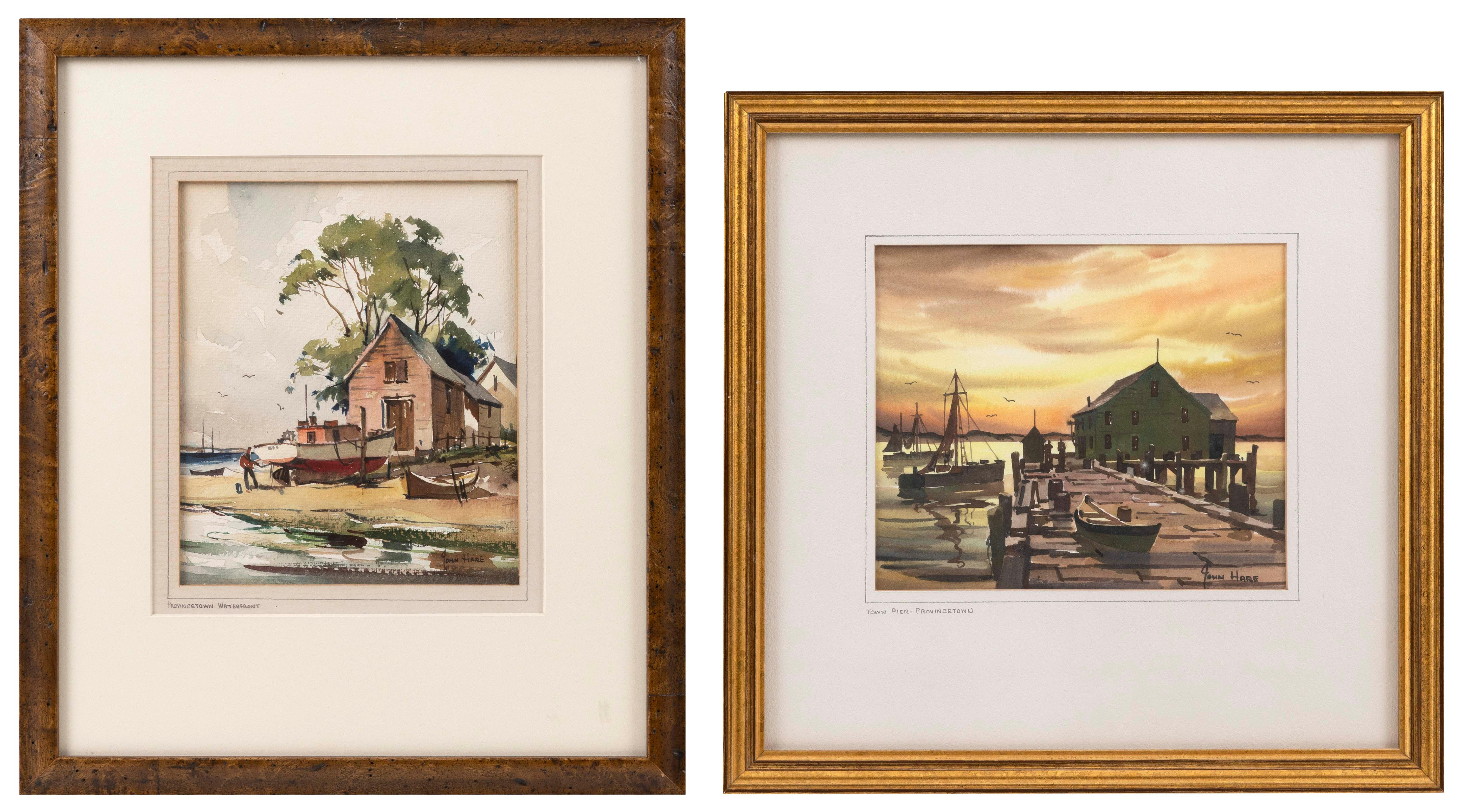"JOHN CUTHBERT HARE , Massachusetts, 1908-1978, Two Provincetown-related works:, Watercolors on paper, 8"" x 7"" sight and 7"" x 8"" sight. Framed 16"" x 14""."