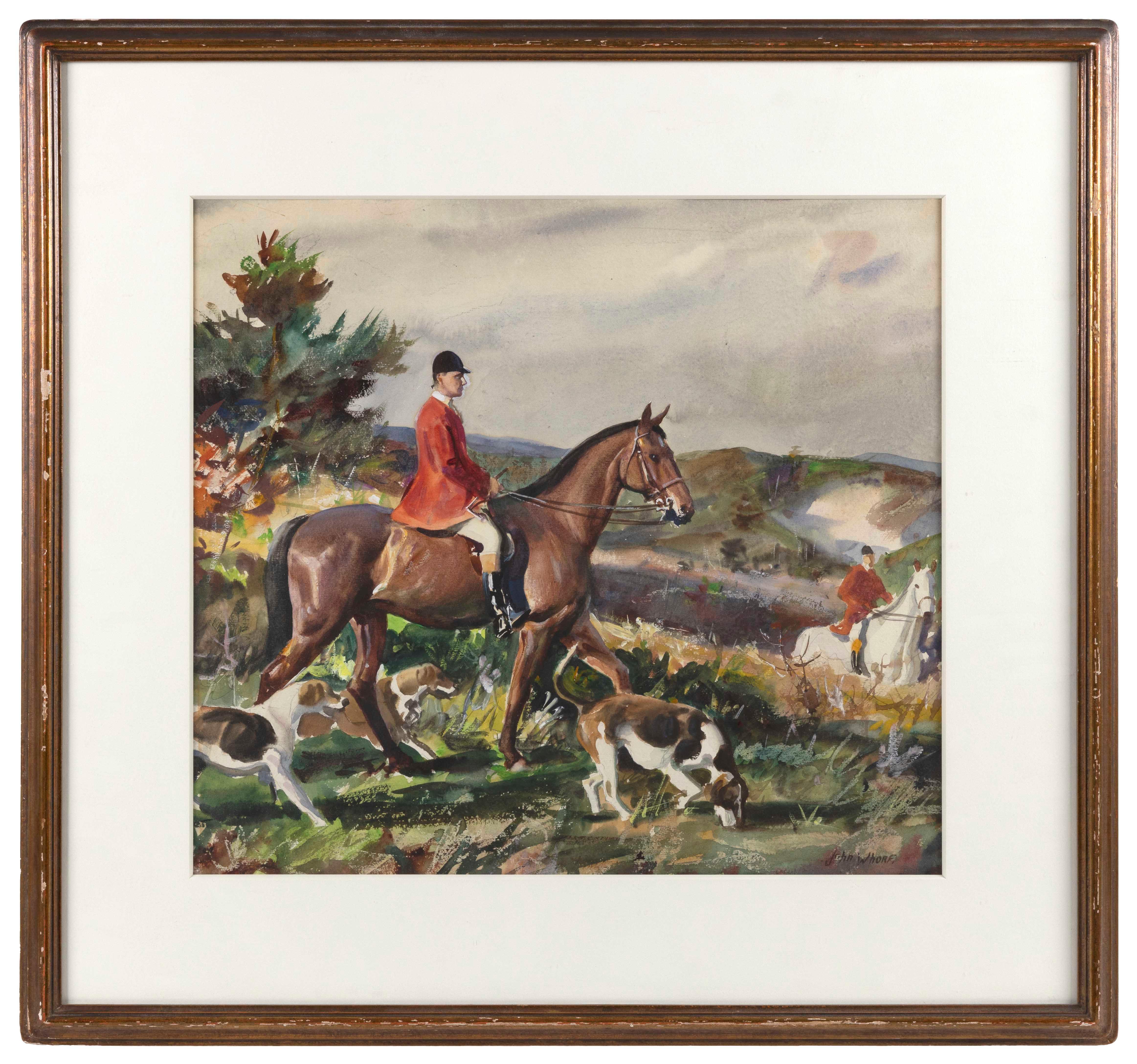"JOHN WHORF , Massachusetts, 1903-1959, Equestrian scene., Watercolor on paper, 17.5"" x 19"" sight. Framed 26.5"" x 28""."