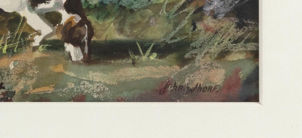 JOHN WHORF , Massachusetts, 1903-1959, Equestrian scene., Watercolor on paper, 17.5