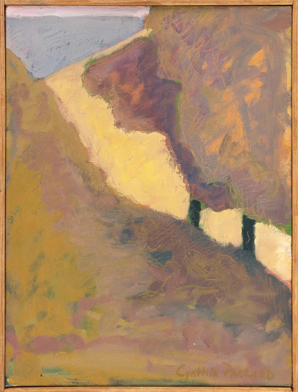 """CYNTHIA PACKARD , Massachusetts/Florida, b. 1957, """"Yellow Field""""., Signed lower right """"Cynthia Packard""""., Oil on canvas, 14"""" x 9"""". Framed 14.5"""" x 9.5""""."""