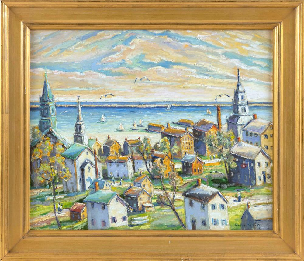 "CHRISTOPHER G. WILLETT , Pennsylvania, b. 1959, ""Provincetown, Mass""., Signed lower right ""Christopher Willett"". Titled verso., Oil on board, 20"" x 24"". Framed 25"" x 29""."