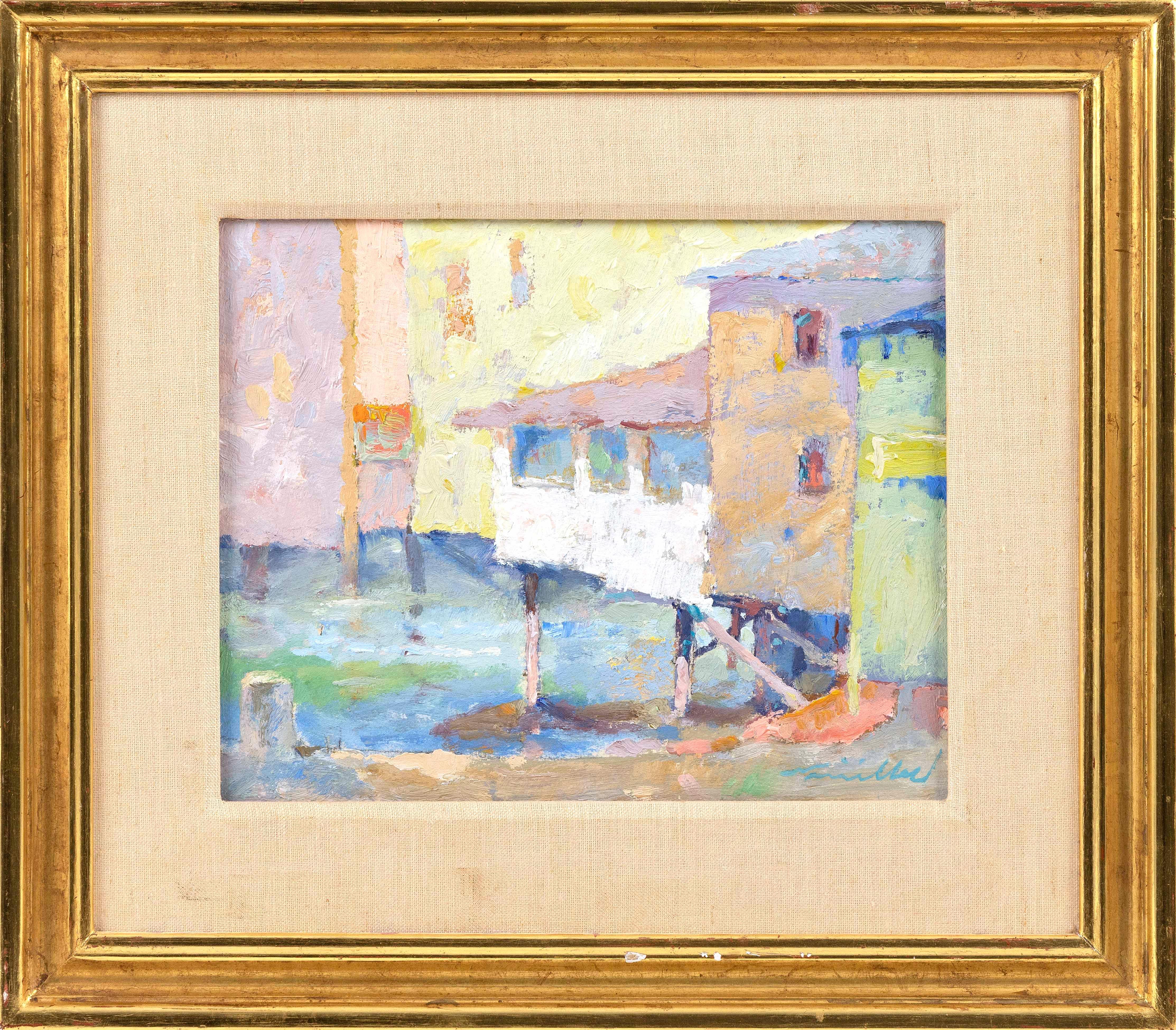 """DAVID L. MILLARD, Massachusetts, 1915-2002, """"Beach Houses""""., Oil on board, 10"""" x 12"""". Framed 16"""" x 18""""."""