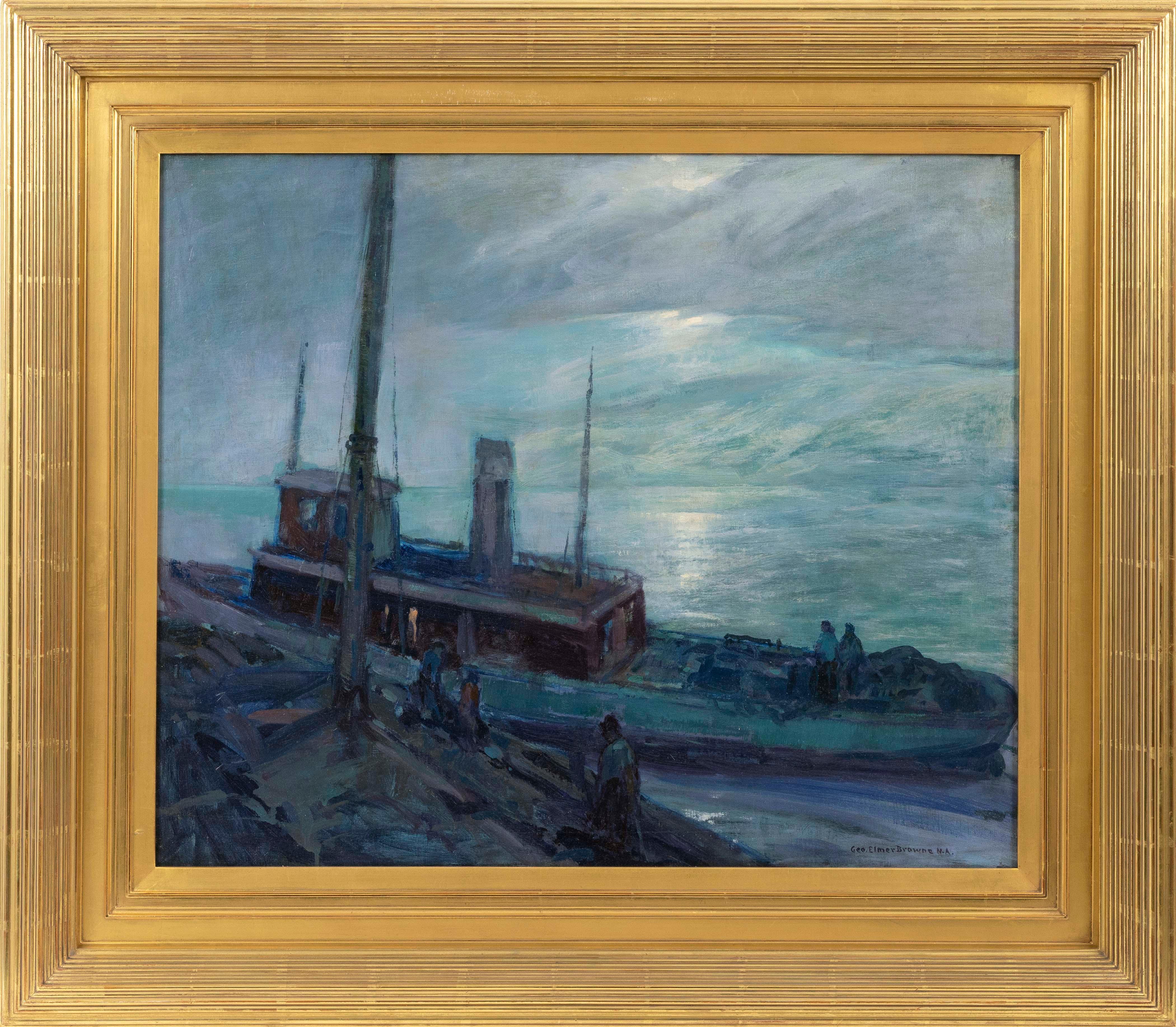 "GEORGE ELMER BROWNE, Massachusetts/Connecticut, 1871-1946, ""Marine Nocturne""., Oil on canvas, 25"" x 30"". Framed 35"" x 40""."