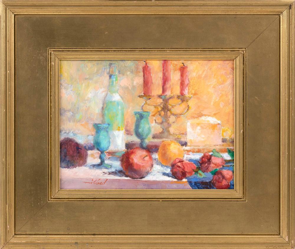 "DAVID L. MILLARD, Massachusetts, 1915-2002, Still life with wedge of cheese., Oil on board, 9"" x 12"". Framed 16"" x 19""."