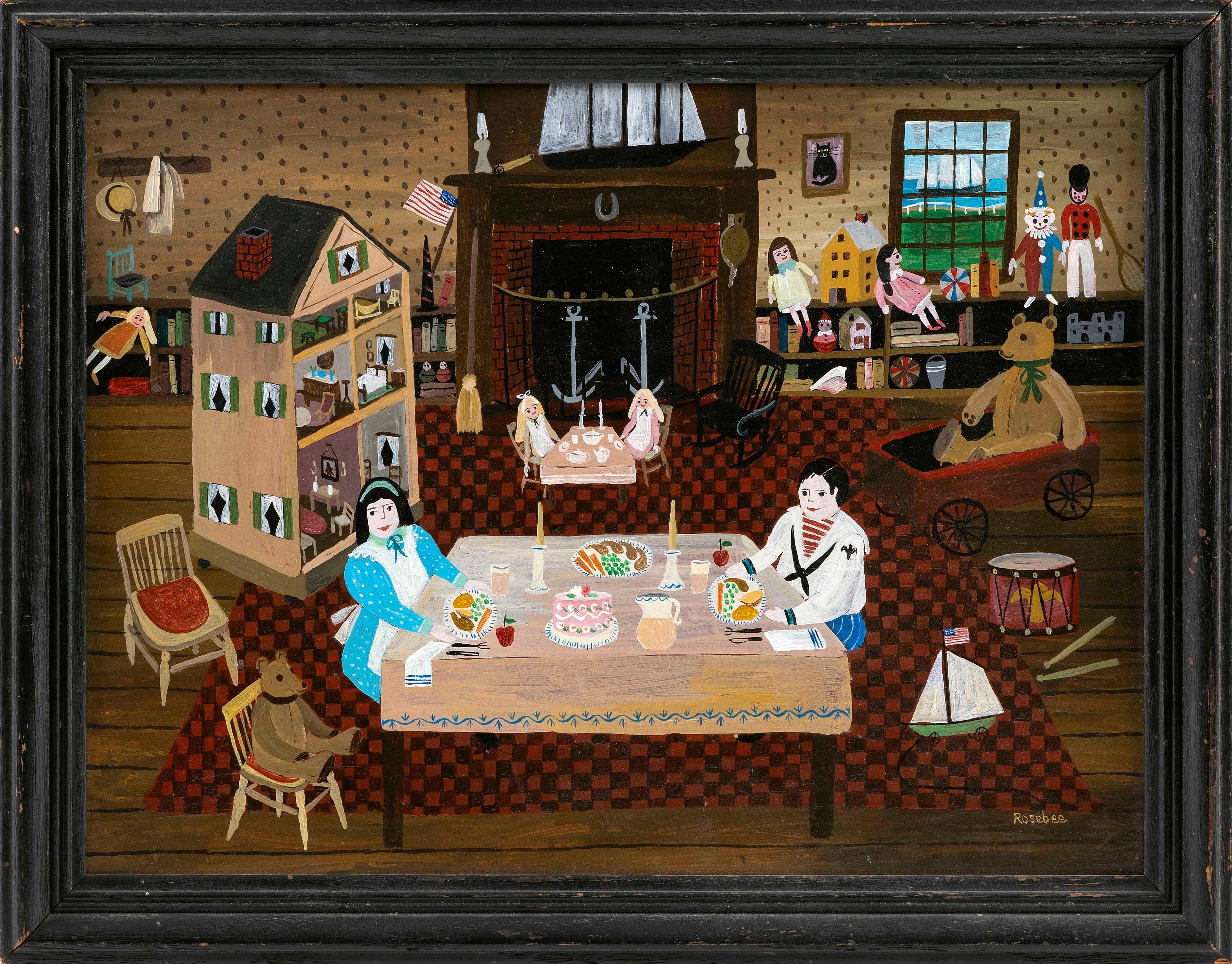"ROSEBEE, Massachusetts, 1932-2016, ""Attic Playroom""., Oil on board, 12"" x 16"". Framed 14"" x 18""."