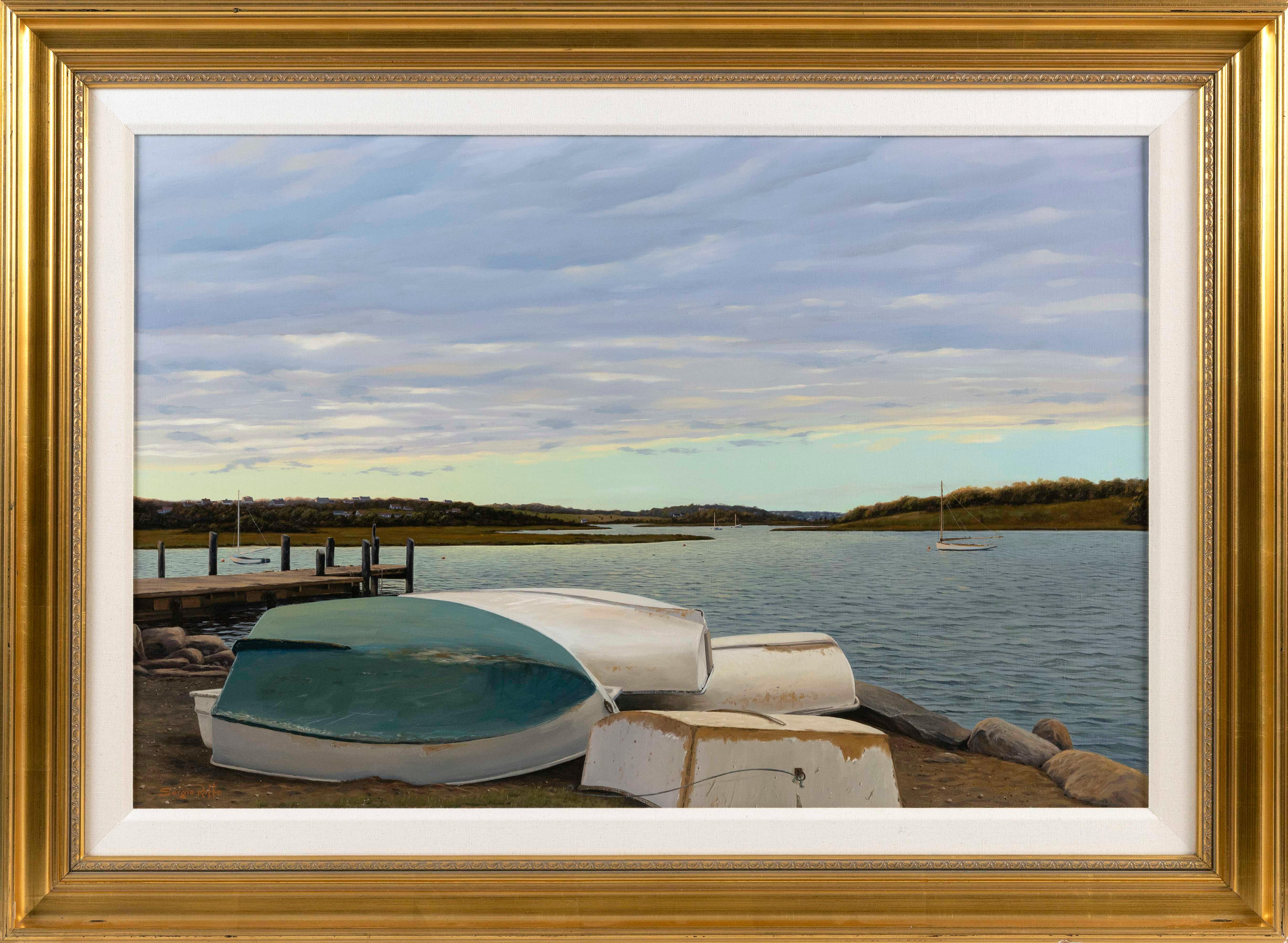 "SERGIO ROFFO, Massachusetts/Italy, b. 1953, ""Season's End, Dories""., Oil on canvas, 24"" x 36"". Framed 33"" x 45""."