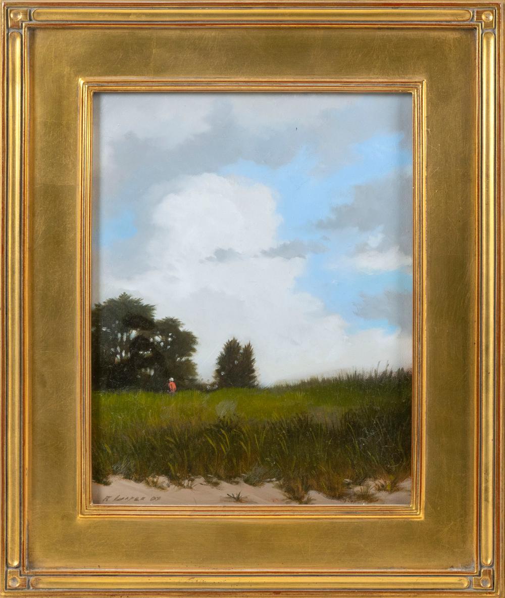 "RYAN COOPER, Massachusetts, Contemporary, ""The Barnstable Bird Watcher""., Oil on canvas, 14"" x 11"". Framed 19.5"" x 16.5""."