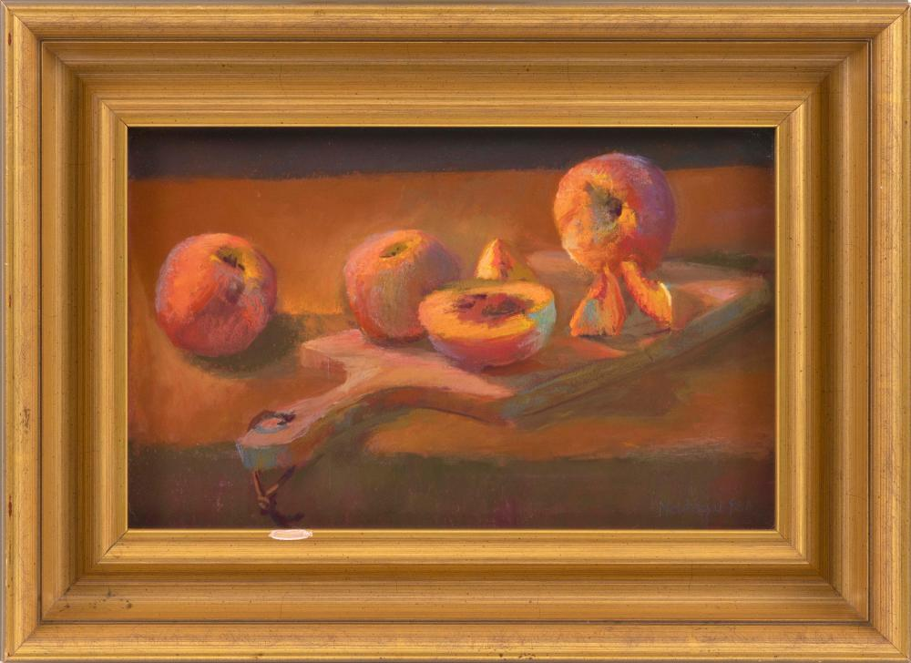 "ROSALIE NADEAU, Massachusetts, Contemporary, Still life of peaches., Pastel on paper, 9"" x 14"". Framed 14"" x 19""."