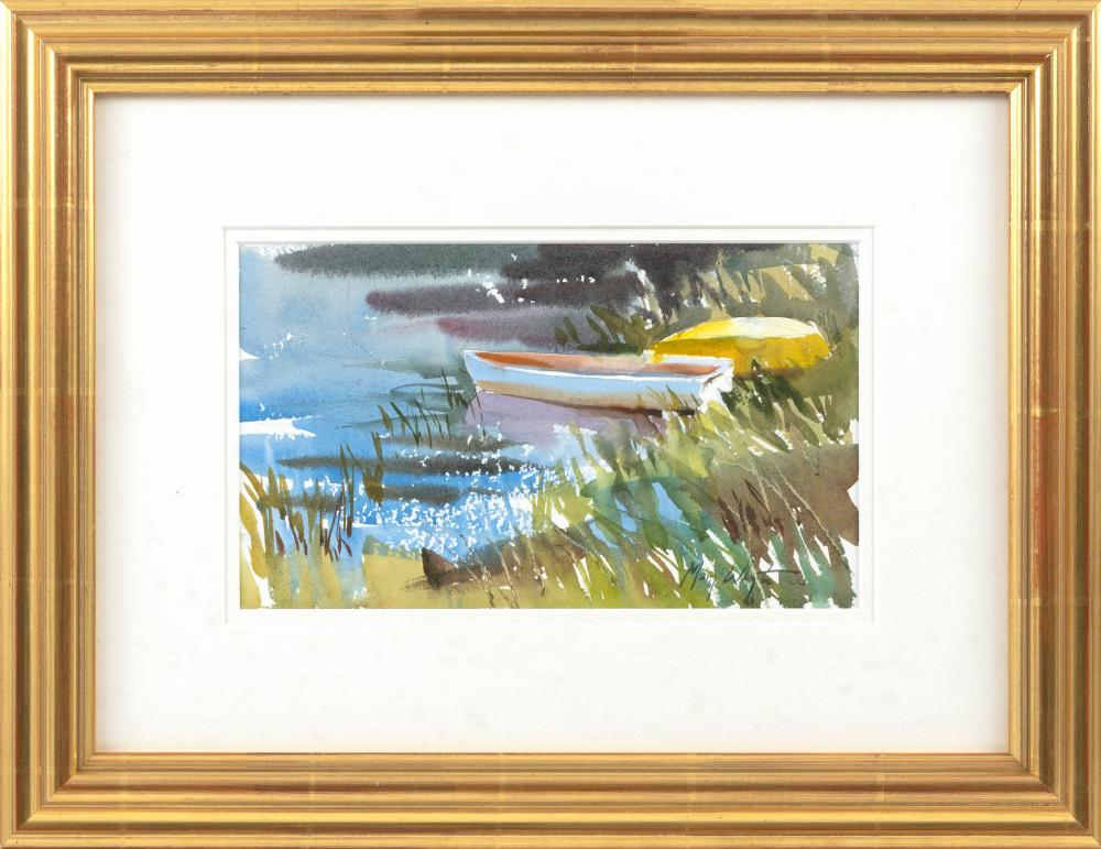 """MARY WHYTE, South Carolina/Ohio, b. 1953, Two dinghies., Watercolor on paper, 6"""" x 11"""" sight. Framed 14.5"""" x 19""""."""
