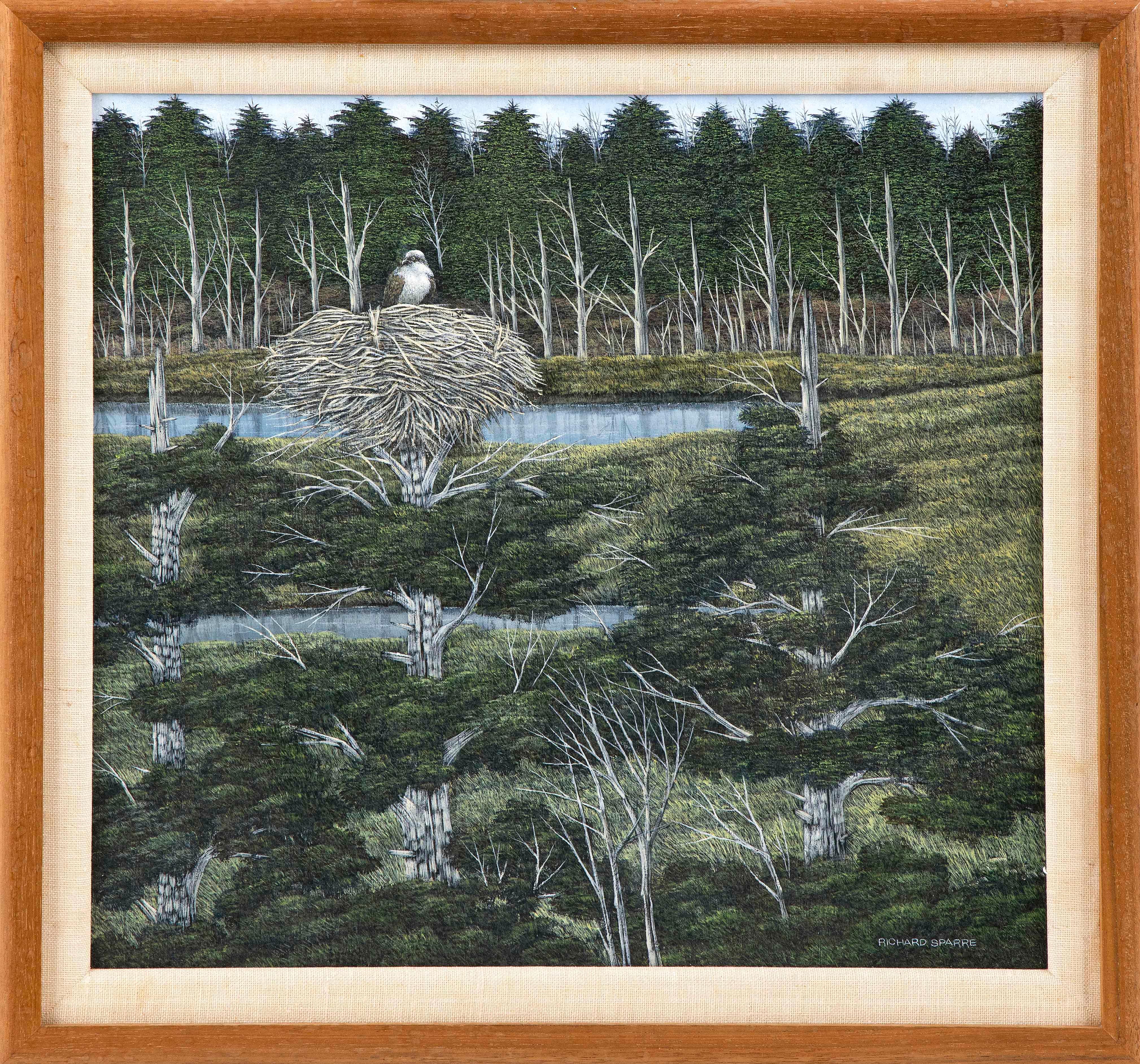 """RICHARD SPARRE, Massachusetts, 1936-2008, Osprey nest., Tempera on panel, 14"""" x 16"""". Framed 17.5"""" x 19""""."""
