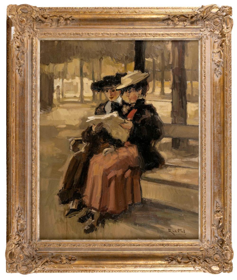 "RICHARD VAN DER POL, The Netherlands, b. 1936, ""The News""., Oil on canvas, 39.5"" x 31.5"". Framed 52"" x 44""."