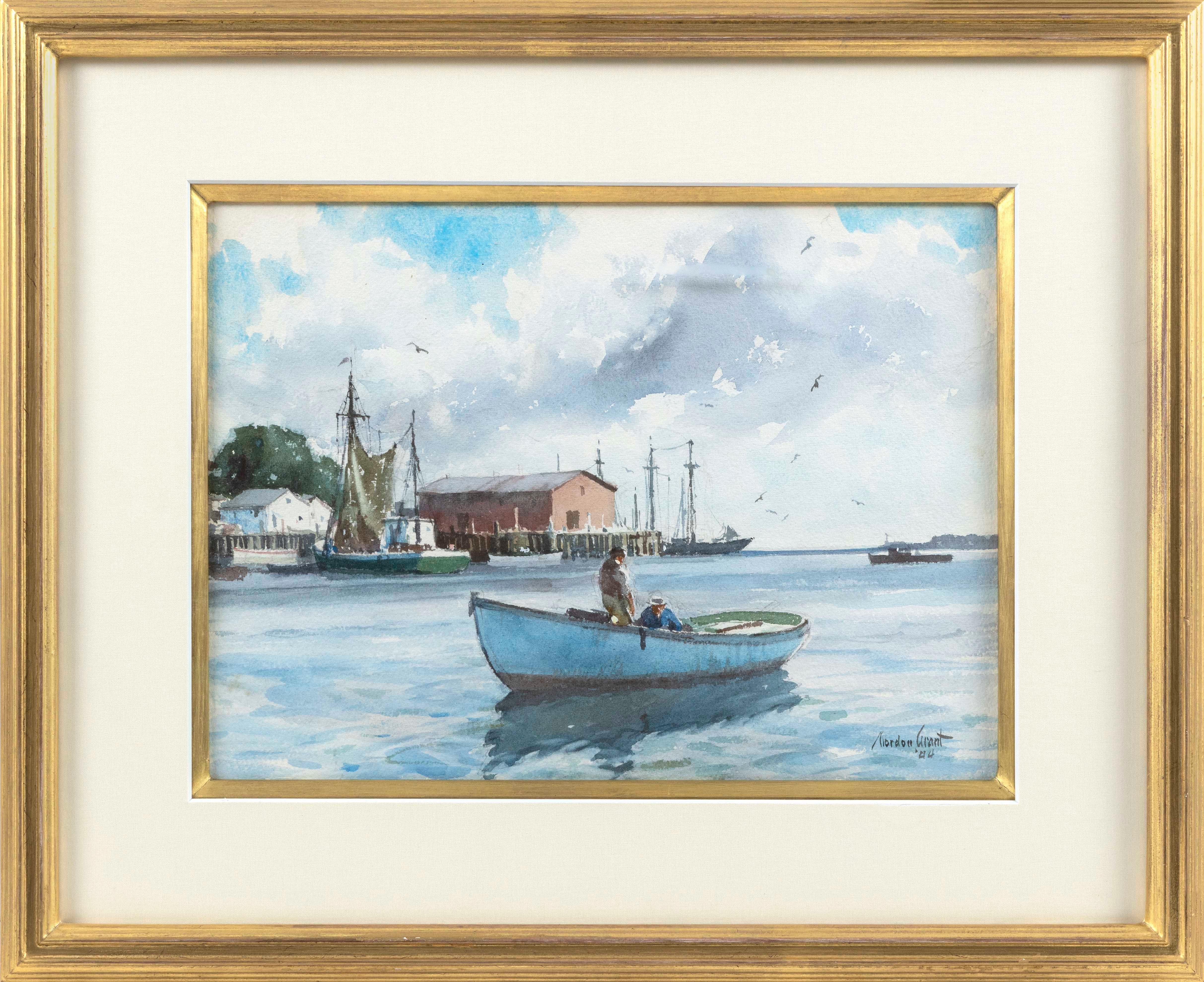 GORDON HOPE GRANT, New York/California/United Kingdom, 1875-1962, Harbor scene with men in a fishing dory., Watercolor on paper, 11....