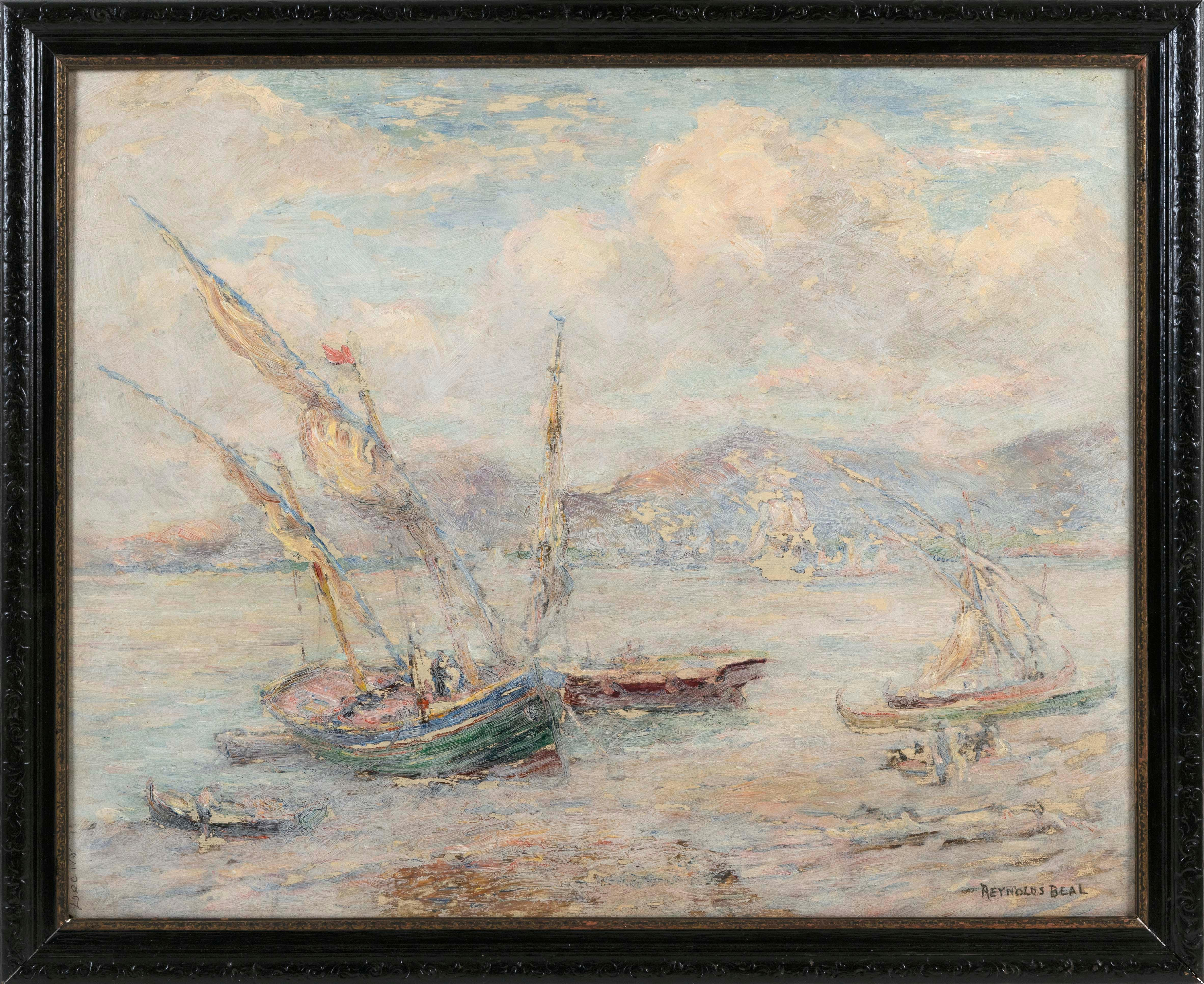 "REYNOLDS BEAL, Massachusetts/Rhone Island, 1866/67-1951, Fishing boats in a harbor., Oil on board, 24"" x 30"". Framed 28"" x 33.5""."