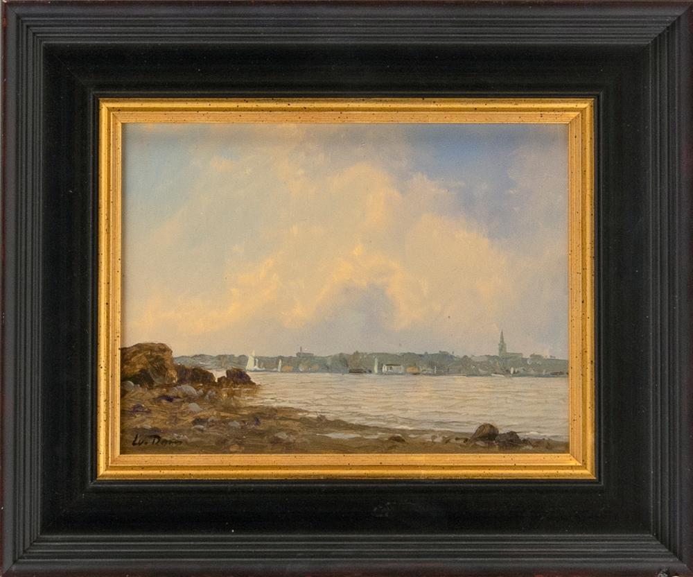 """WILLIAM R. DAVIS, Massachusetts, b. 1952, """"Coastal Shore View""""., Oil on board, 6"""" x 8"""". Framed 9.75"""" x 11.75""""."""
