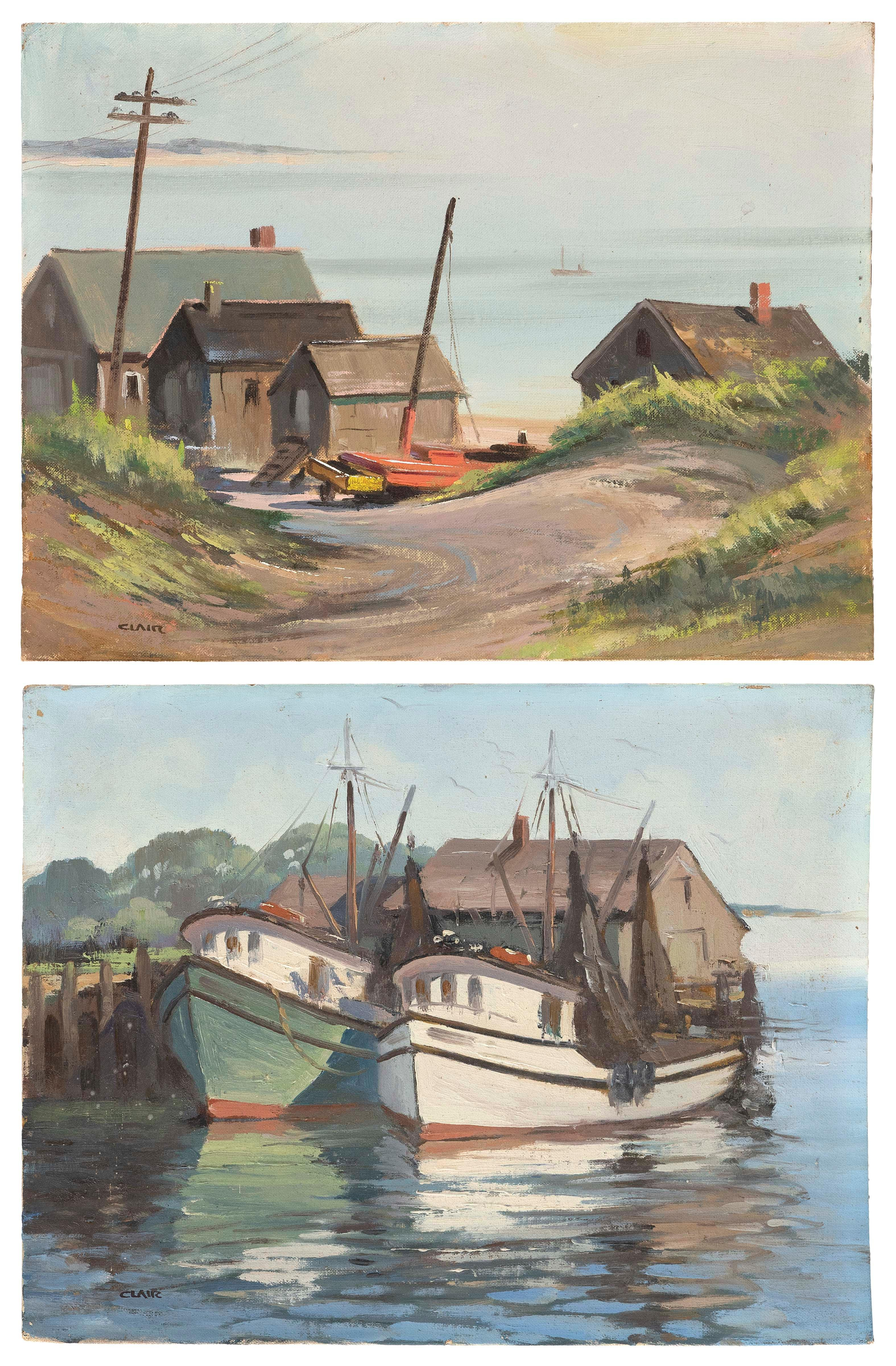 """IRENE STRY (Massachusetts/New York/Hungary, 1904-1963), Two works: Fishing boats at a harbor and seaside houses., Oils on canvas board, 12"""" x 16"""". Unframed."""
