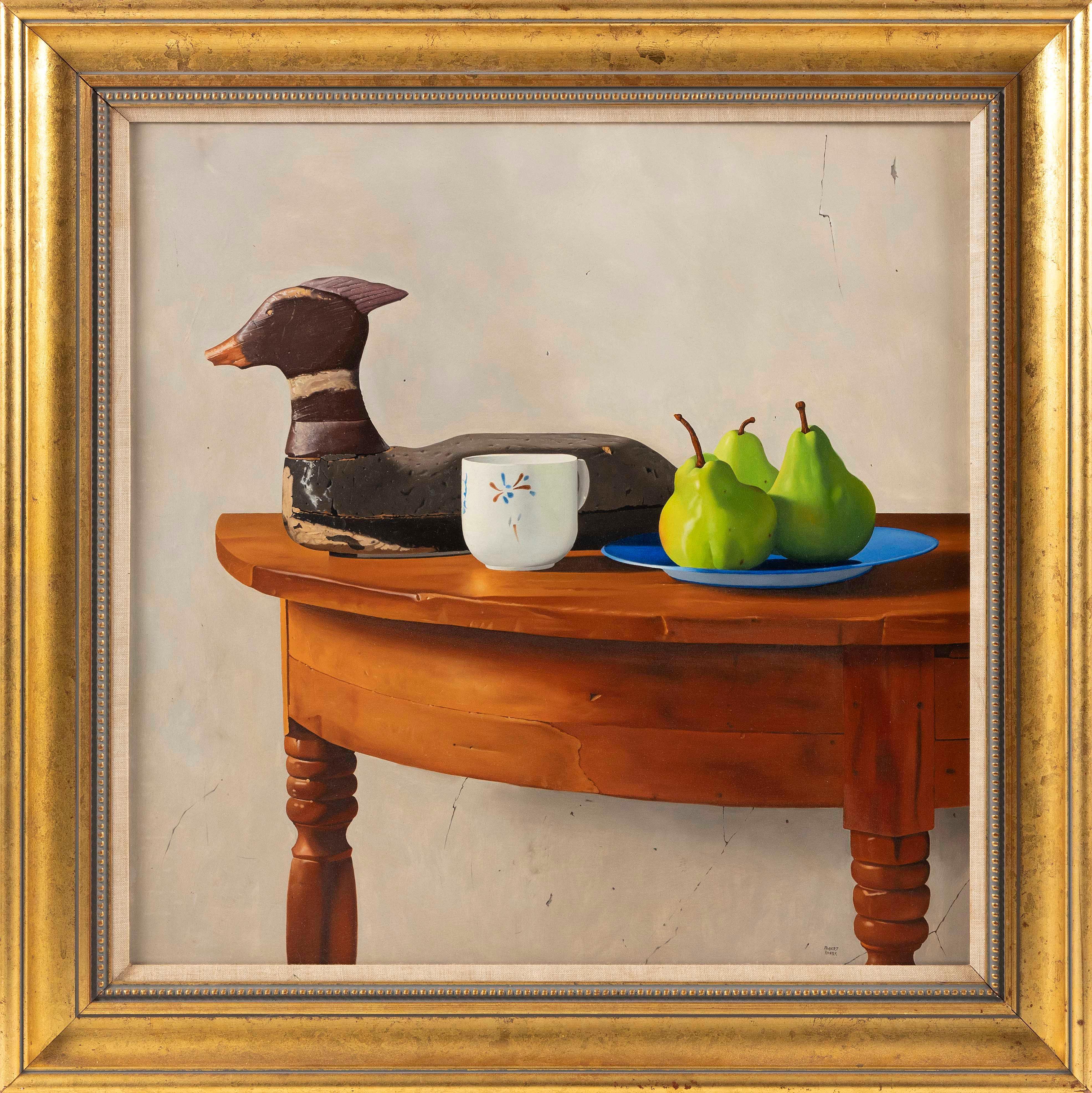 """ROBERT K. ROARK (Massachusetts/New York, b. 1944), """"Still Life with Decoy""""., Oil on panel, 24"""" x 24"""". Framed 30.5"""" x 30.5""""."""