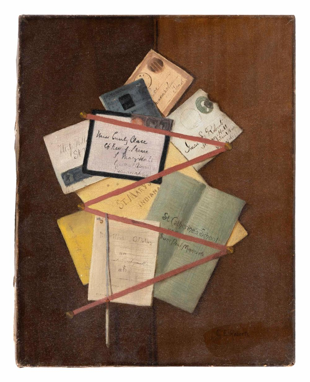 "GRACE E. ROBERTS (America, Late 19th/Early 20th Century), Trompe l'oeil of letters and pamphlets on a wall., Oil on canvas, 18"" x 14"". Unframed."