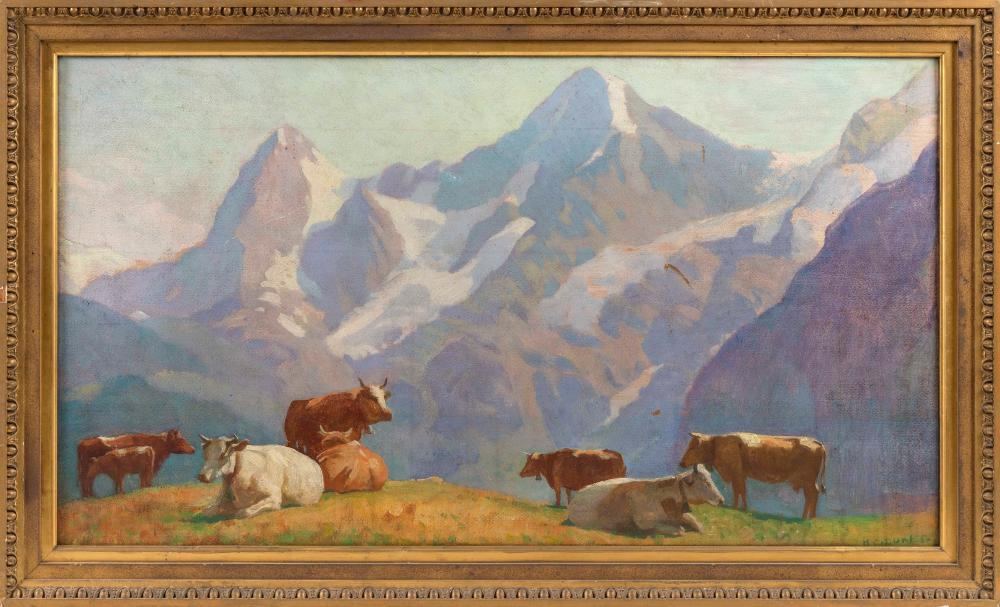 """HAROLD C. DUNBAR (Massachusetts, 1882-1953), Mountain scene with cattle, possibly the Eiger, Mönch and Jungfrau mountains in Switzerland., Oil on board, 20"""" x 36"""". Framed 24"""" x 39""""."""