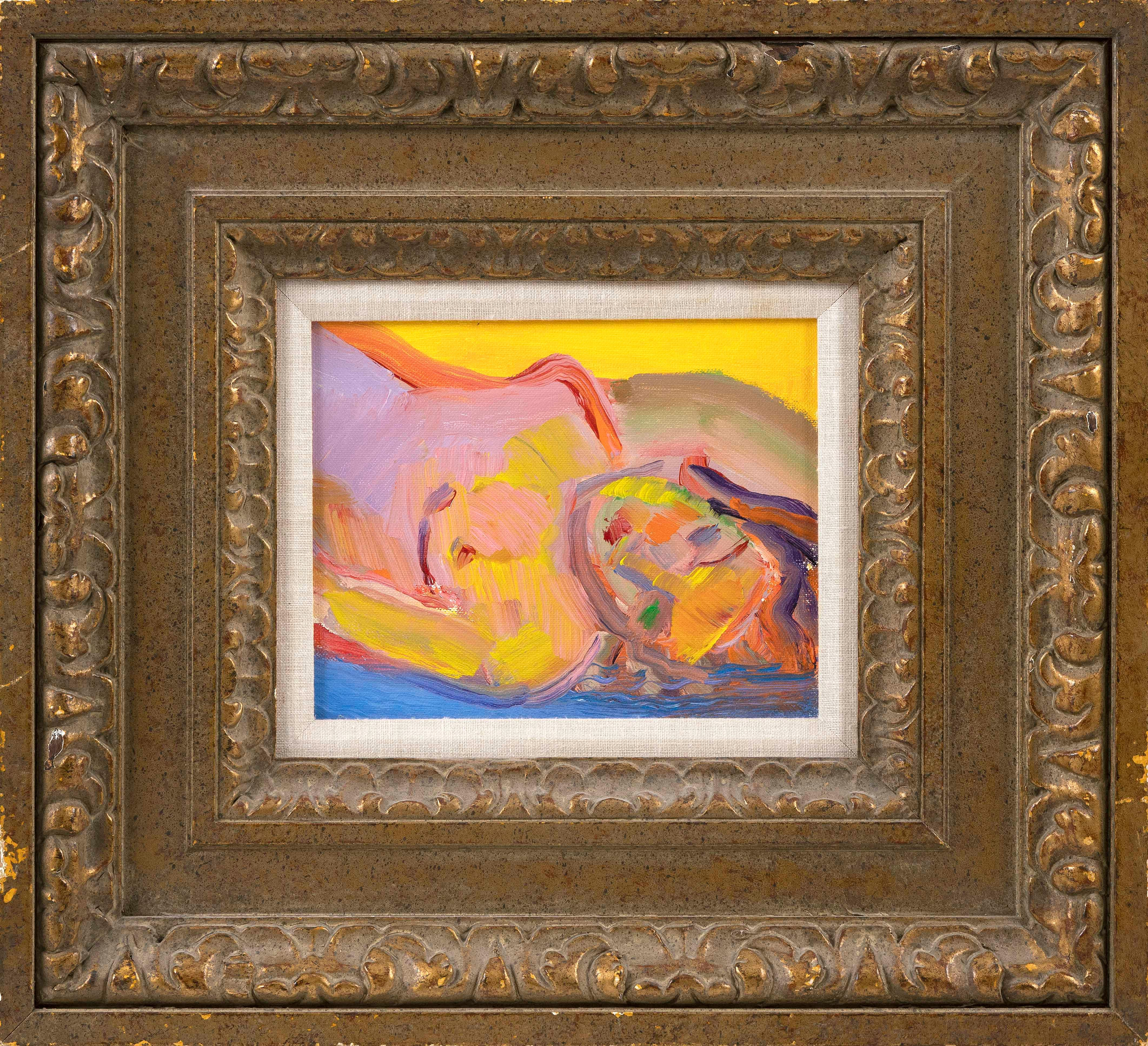 "JOHN GRILLO (Massachusetts, 1917-2014), Reclining nude., Oil on canvas, 8"" x 10"". Framed 19.5"" x 21.5""."