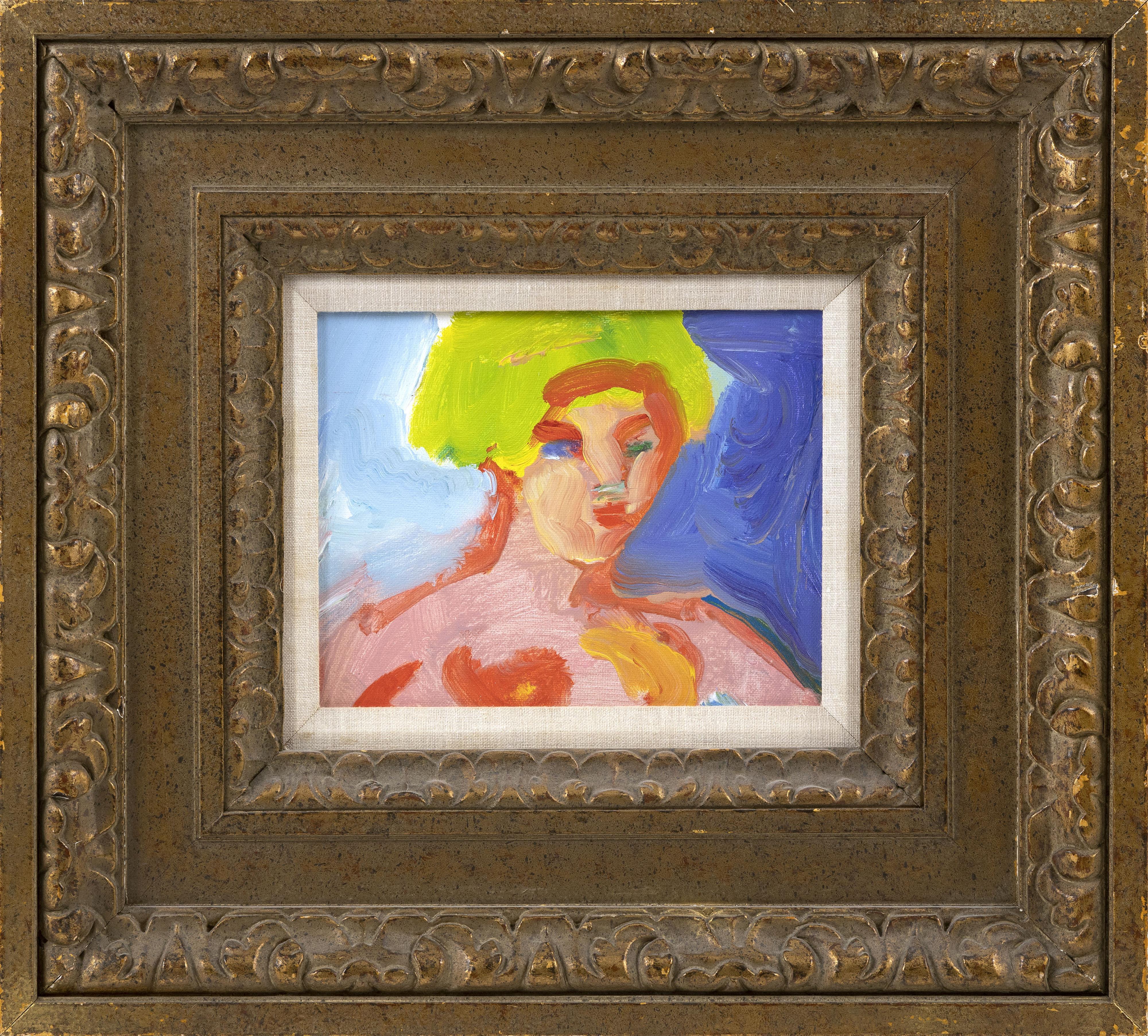 "JOHN GRILLO (Massachusetts, 1917-2014), Bust portrait of a woman., Oil on canvas board, 8"" x 10"". Framed 19.5"" x 21.5""."