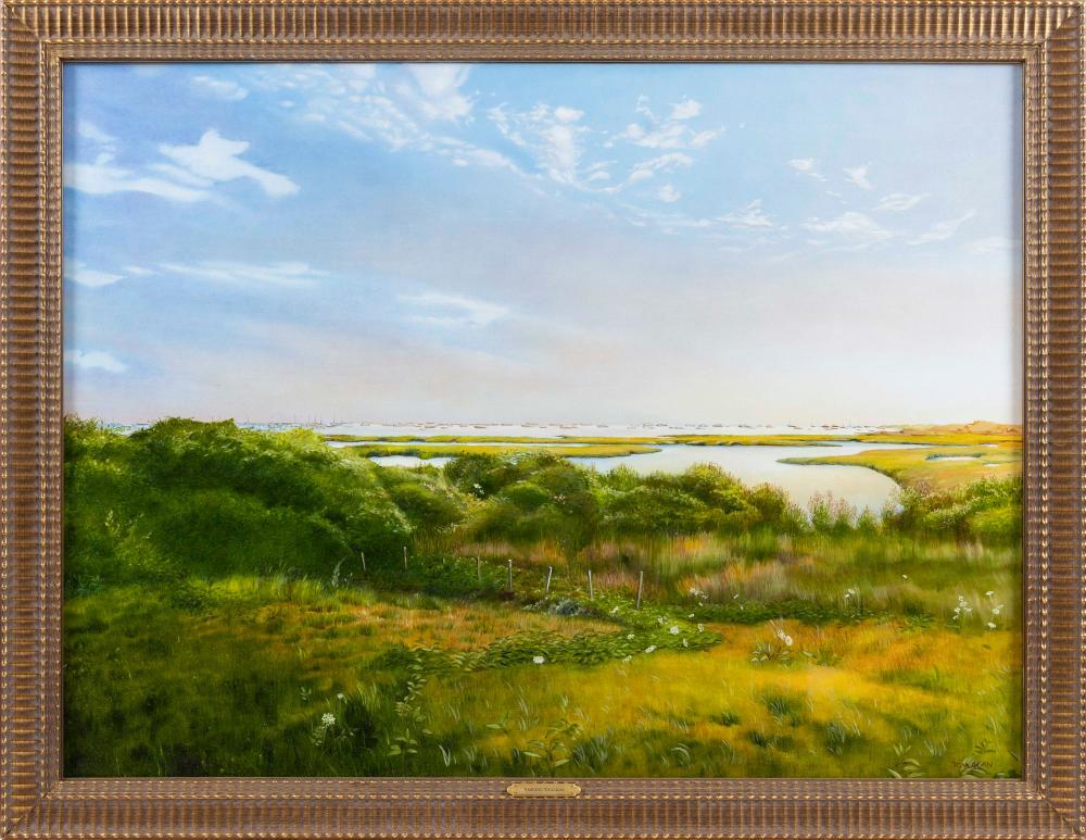 "YASEMIN KYRENA TOMAKAN (Connecticut/Massachusetts/Turkey, b. 1958), ""Beyond The Creeks, Monomoy, Nantucket""., Oil on canvas, 30"" x 39"". Framed 36"" x 48""."