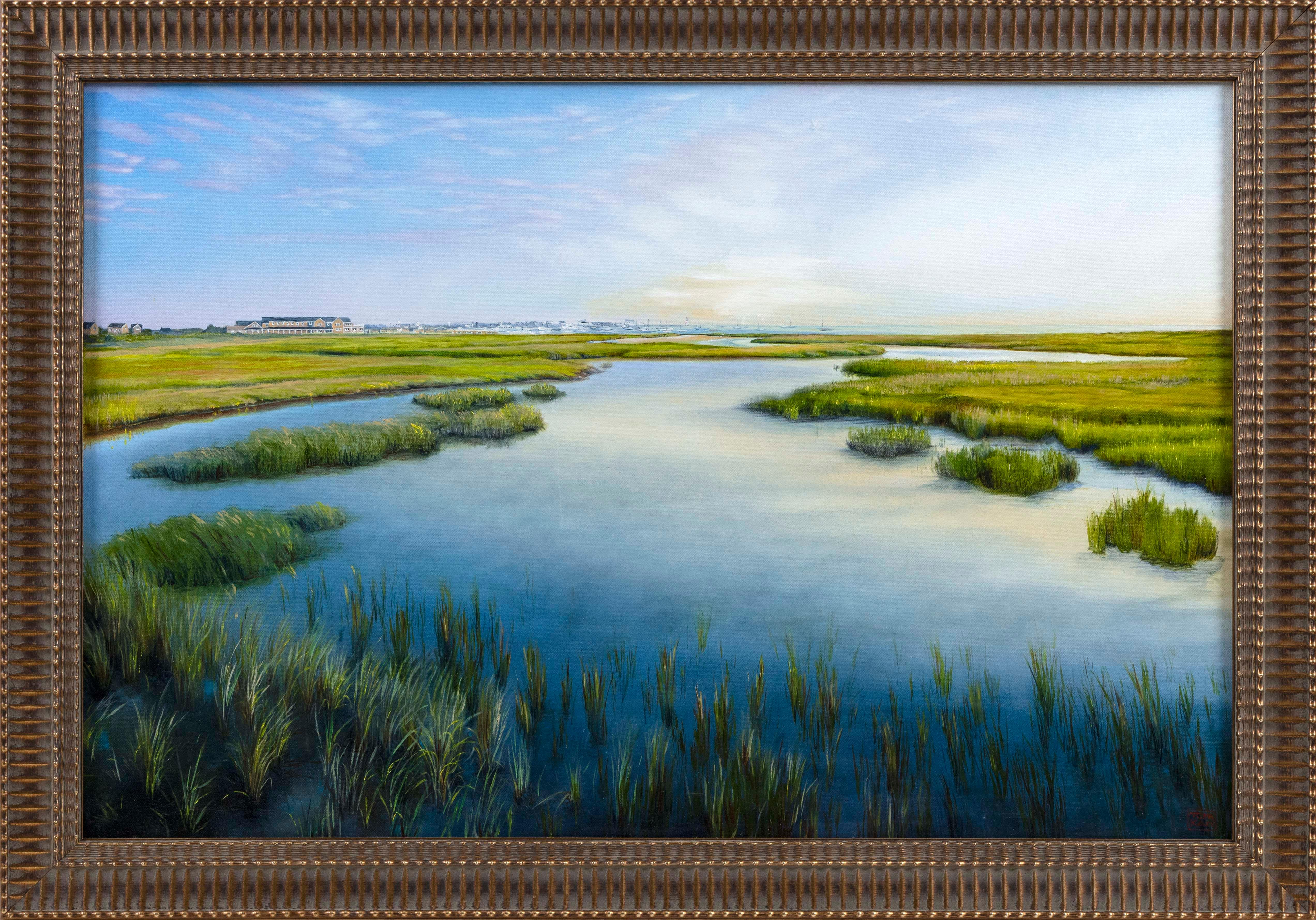 "YASEMIN KYRENA TOMAKAN (Connecticut/Massachusetts/Turkey, b. 1958), ""Town of Nantucket from Across the Creeks""., Oil on canvas, 23.5"" x 34.5"". Framed 28.5"" x 40""."