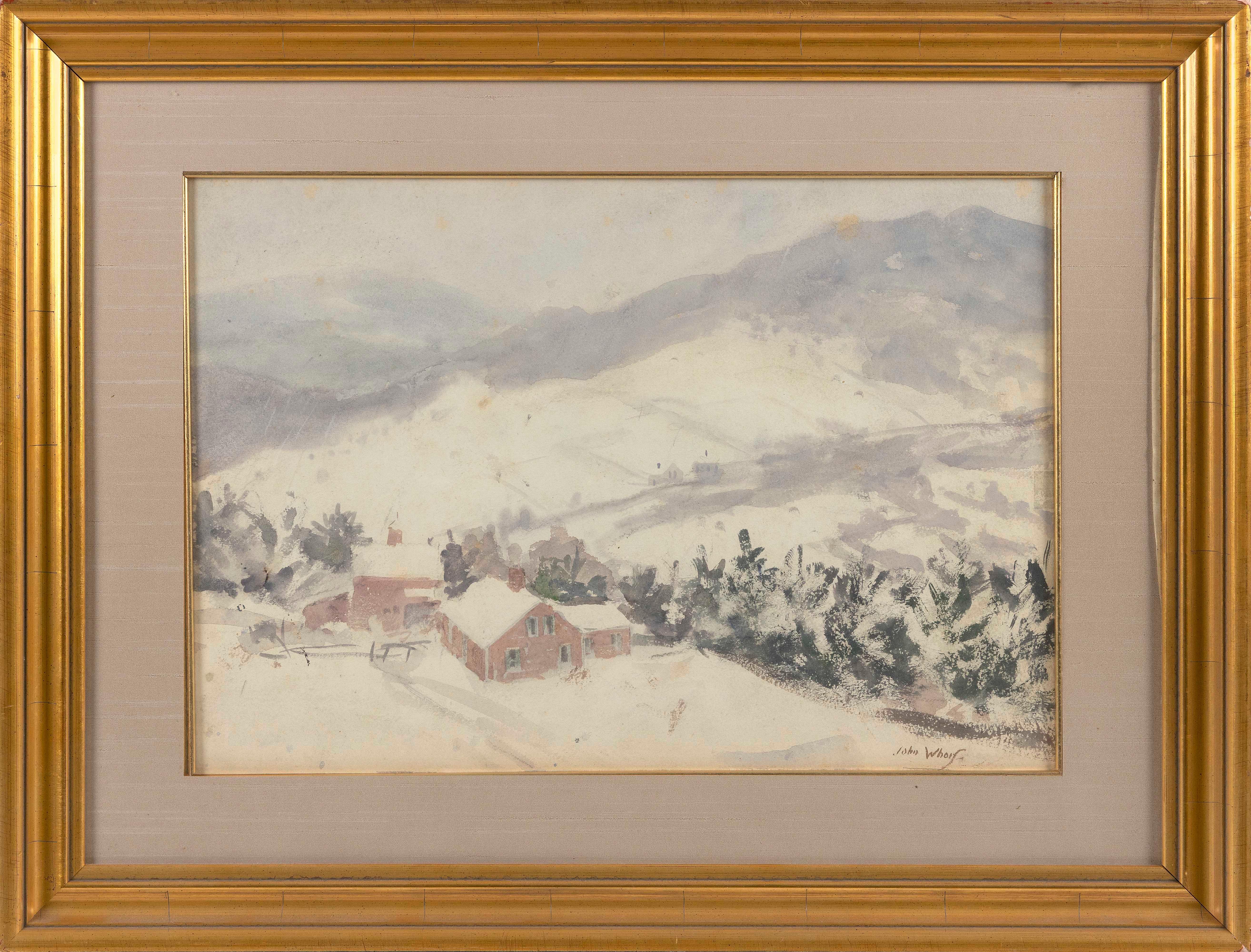 "JOHN WHORF , Massachusetts, 1903-1959, Farm in winter., Watercolor on paper, 14"" x 20"" sight. Framed 22"" x 29""."