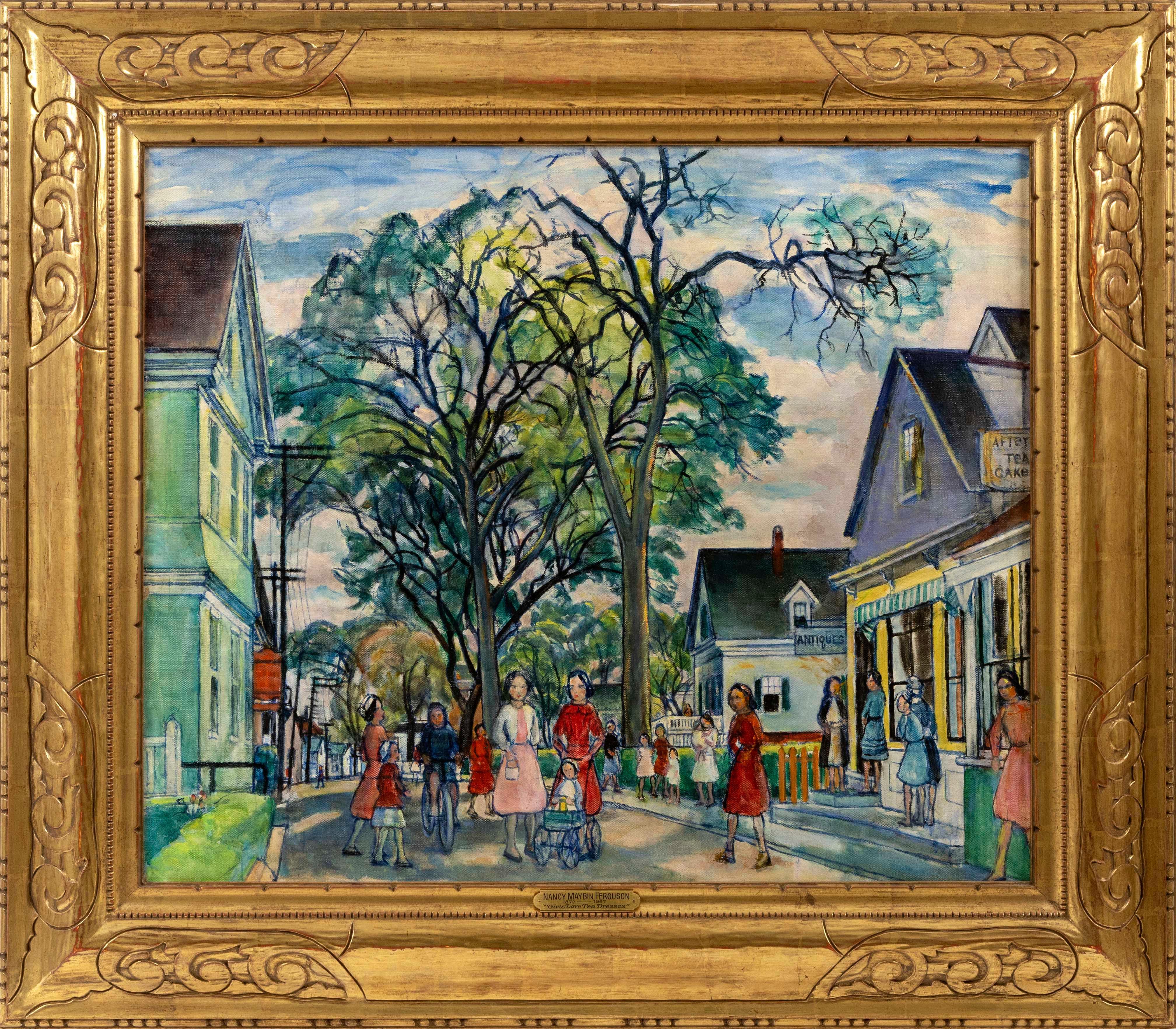 """NANCY MAYBIN FERGUSON (Pennsylvania/Massachusetts, 1872-1967), """"Girls Love Tea Dresses""""., Oil on canvas, 25"""" x 30"""". Framed 34.5"""" x 39.5""""."""