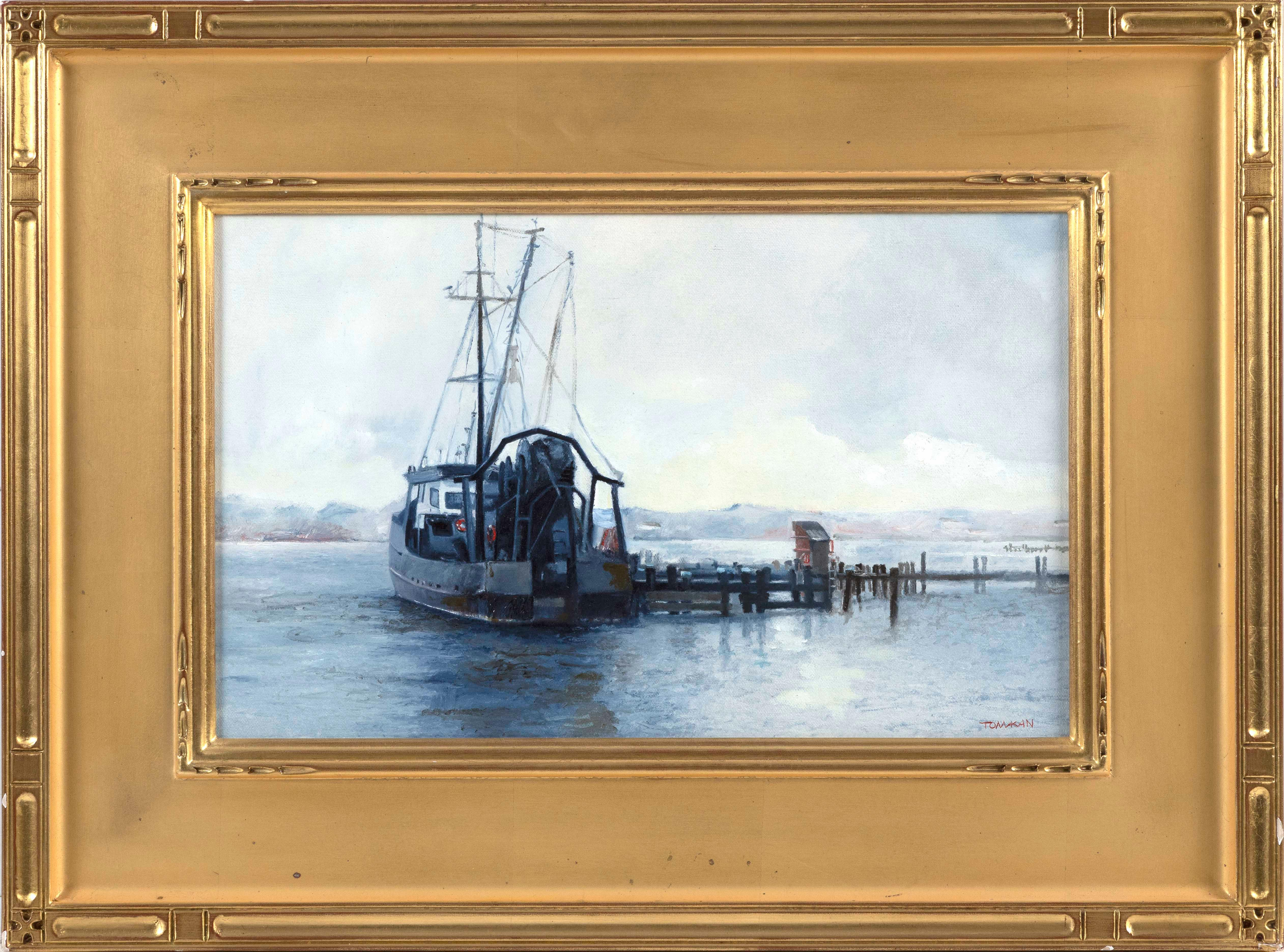 "YASEMIN KYRENA TOMAKAN, America/Turkey, b. 1958, ""Fishing Boat, Nantucket""., Oil on canvas, 10"" x 16"". Framed 17"" x 23""."
