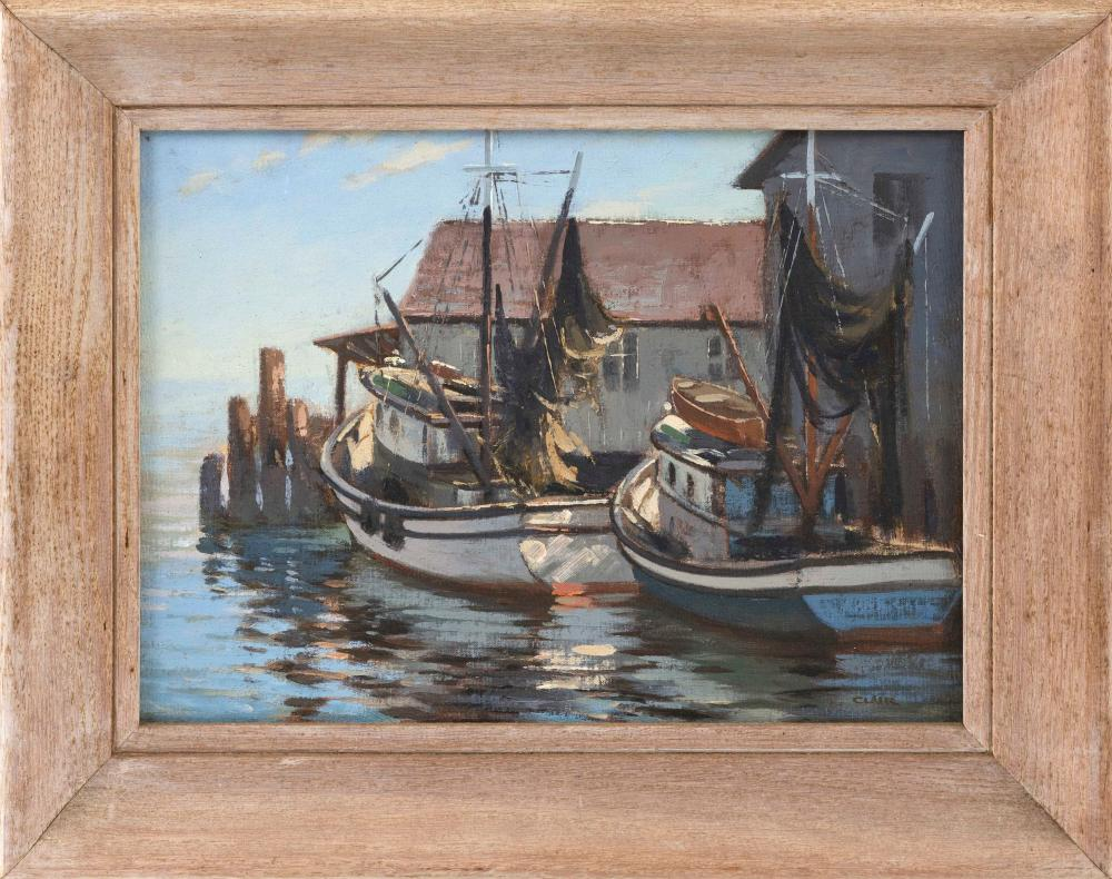 """IRENE STRY, Massachusetts/New York/Hungary, 1904-1963, Fishing boats at a pier., Oil on canvas board, 12"""" x 16"""". Framed 17"""" x 21""""."""